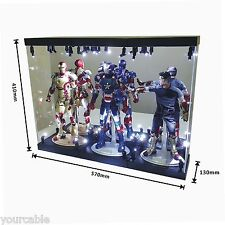 "Acrylic Display Case Light Box for THREE 12"" 1/6 Scale IRON MAN 3 Action Figure"