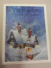 "House Beautiful Magazine Art Poster Print 18""x24"" Snow Holidays Christmas Winter"