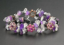 Magnetic Bracelet Hematite Bead Pink Crystal Flower Stretch Free Shipping Gifts