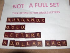 99 cent BURGUNDY GOLD LETTERS INDIVIDUAL SCRABBLE Maroon WOOD TILES Turntable