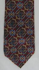 Montagu Mens Neck Tie Necktie Silk Red Blue Tan Geometric Diamond Square EUC