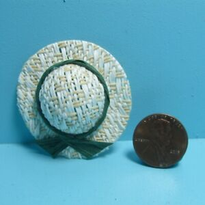 Dollhouse Miniature Lady's Straw Sun Hat with Green Ribbon B0395