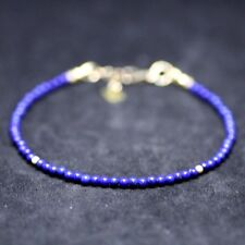 Natural Smooth Lapis Lazuli Skinny Bracelet 14k Gold Filled  9th Anniversary AAA