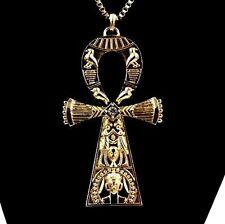 18K Gold BIG Last Kings Tyga Egyptian Ankh Cross of Life Pendant Pagan Necklace