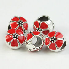 Enamel Flower Charm Big Hole Spacer Beads Silver 10mm for European Bracelet