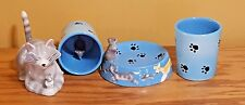 UNIQUE 4 PIECE CAT & MOUSE TOOTHBRUSH HOLDER, CUP & SOAP DISH MERVYNS CALIFORNIA