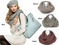 Branded Pia Rossini Ladies Knitted Winter Hat Long Scarf Set Snood In 4 Colours