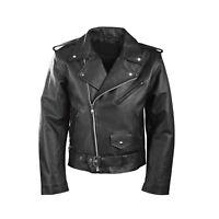 Hommes Moto Perfecto Brando 100% Véritable Fashion Veste en Cuir Noir Motard