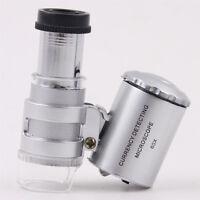 Led Uv 60 Lupe Mini Mikroskops Taschenmikroskop Taschenlupe Juwelierlupe-Schmuck