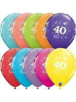 40th Birthday Party Supplies Latex Balloons Pearl Assorted Colours  28cm Pack 10