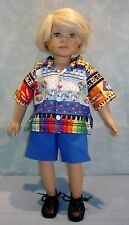 18 Inch Doll Clothes - Boy's Back to School Shirt and Shorts handmade by Jane El