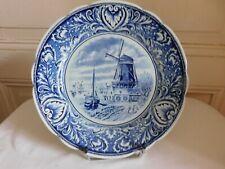 Delfts Royal Sphinx Maastricht assiette  Moulin voiliers et pêcheurs P Regout