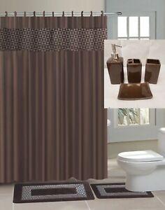 4PC SET BATHROOM BATH MATS SHOWER CURTAIN 4P CERAMIC ACESORIES VERSATILE DESIGNS