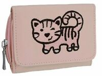 Womens Embroidered Nylon Cat Print Design Zipped Wallet Handbag Purse Ladies Bag