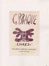 """1989 VINTAGE """"ESTAMPES LIVRES"""" BRAQUE MOURLOT MINI POSTER COLOR Art Lithograph"""