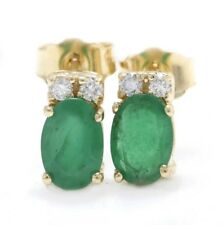 1.80 Carat Natural Emerald & Diamond 14K Solid Yellow Gold Stud Earrings