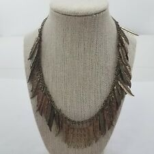 Feather Necklace Boho Gold Tone Dangle Statement Charm Chain Tribal Native