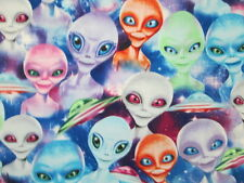 Aliens Space Ships UFO Alien Galaxy Lights Stars Bright Cotton Fabric FQ