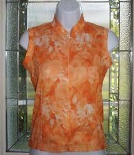 CANARI Womens Small Orange White Roses Sleeveless 3/4 Zip Cycling Jersey