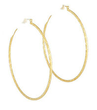 Hoop Earrings14k Gold Plated Ex- Large 78mm Drop 3mm Thick Made in USA