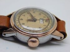 MOVADO VINTAGE DAY/DATE POINTER SOLID GOLD BEZEL WORKING LADIES WATCH