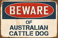 "Beware Of Australian Cattle Dog 8"" x 12"" Vintage Aluminum Retro Metal Sign VS461"
