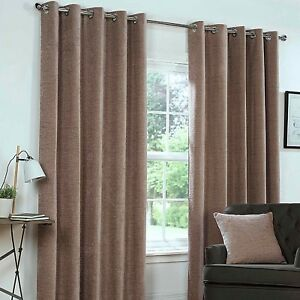 Yale Mink Brown Lined Eyelet Ring Top Curtains Heavy Chenille Fabric ~ 7 SIZES ~