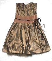 WHISTLES Size 10 Strapless Evening Occasion Dress Caramel Honey Mocha Taffeta