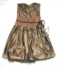 WHISTLES Size 10 Strapless Formal Prom Dress Caramel Honey Mocha Taffeta Beaded