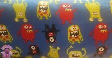 Fun Monsters on Blue Fabric Cotton Flannel By The Yard