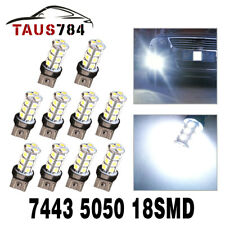 10x White 7443 7440 5050 18 SMD LED Tail Brake Backup Reverse Light Bulbs 7444NA