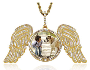 Angel Wing Necklace Personalized Image Jewelry Custom Crystal Picture Pendant