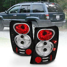 Black 1999-2004 Jeep Grand Cherokee Tail Lights Brake Lamps w/ LED Side Marker