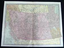 Western Canada Provinces Map 1912 Vintage Scientific American Atlas Page