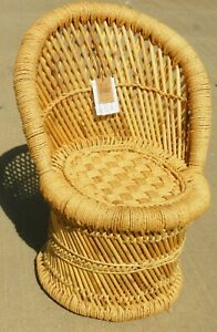 Creative Co-Op DA9820 Off-White Bamboo and Woven Rope Tropical Children's Chair