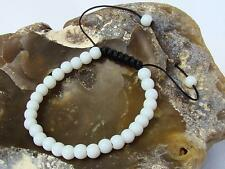 Delicate Men's bracelet all 6mm WHITE ALABASTER BEADS