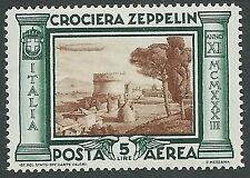 1933 REGNO POSTA AEREA ZEPPELIN 5 LIRE LUSSO MNH ** - IT