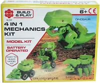 4 in 1 Battery Operated Dinosaur Robot Toy Mechanics DIY Assembly Kit Age 6+