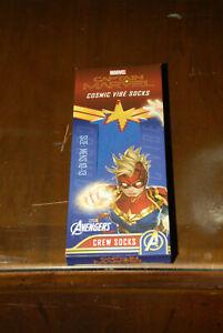 Captain Marvel cosmic vibe socks New in the box Avengers Marvel Disney men 10-13