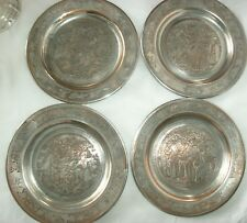 """4 ANTIQUE/VINTAGE PERSIAN ETCHED SILVER ON COPPER PLATES, 4 SCENES, 6 1/2"""""""
