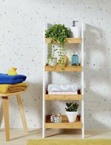 4 Tier Bathroom Shelf Unit Bamboo And White Metal John Lewis