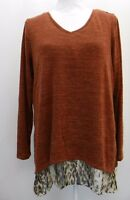 Style & Co Womens Top Printed Asymmetrical Hem Layered Knit Brown Multi Top M