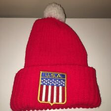 VTG USA Winter Hat 1980s American Flag Red White Blue Adult Size