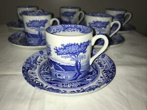 Spode Italian Blue & White Set Of 6 Coffee Cups & Saucers VGC
