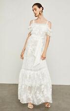 NWT BCBG MAX AZRIA $598 WHITE OFF THE SHOULDER FLORAL LACE MAXI DRESS SZ M