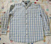 Ariat Western Cowboy Shirt Mens L White Blue Plaid Long Sleeve Gussets