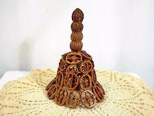"""Walnut Shell Bell Cut Walnuts Hand Made Arts Crafts 6½"""" Tall"""