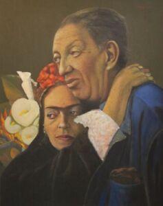 ORIGINAL PAINTING FRIDA KAHLO DIEGO RIVERA BY JEAN CLAUDE LEGAGNEUR HAITIAN ART