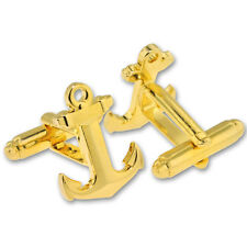 or gold usa made anchor shaped cufflink set silver
