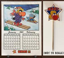Vintage WMMS 1980 Calendar — AND WMMS Stickpin— Cleveland Radio Station Buzzard